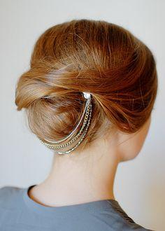 Style # 5031 - Twig and Sparrow Multi strand layered chain headband/ headpiece with swarovski crystal pins