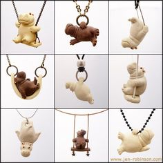 Tiny Stoneware Hippo Necklaces. These are so adorable! I wonder if I can make them with some clay...