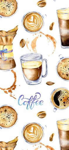 Painted with love💕 art painting Watercolor coffee wallpaper with glass cup, splashes and lettering Coffee And Books, Coffee Love, Coffee Art, Coffee Shop, Coffee Menu, Coffee Wallpaper Iphone, Food Wallpaper, Coffee Wallpapers, Coffee Drawing