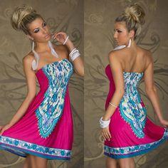 Bohemian Style Floral Print Starpless Dress