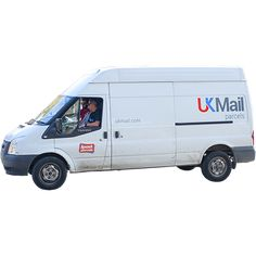 A tall white postal van that has it's background removed so you may add your own.