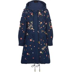 Needle Thread Dragonfly Garden hooded embellished embroidered denim... (170.045 HUF) via Polyvore featuring outerwear, coats, blue coat, parka coat, embroidered coat, blue parka and denim coat