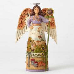 Item Number: 4053854 Material: Stone Resin Dimensions: 7.25 in H x 2.5 in W x 4.5 in L Jim Shore's enchanting Autumn Angel features wings of delicately carved leaves steeped in fall color and a beauti