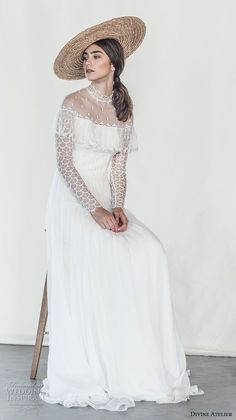 divine atelier 2018 bridal long sleeves illusion high neck lightly embellished bodice romantic bohemian soft a  line wedding dress sweep train (5) fv mv -- Divine Atelier 2018 Wedding Dresses