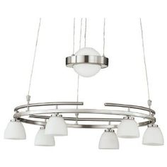 Wofi 140 Watt Halogen Ring Rise and Fall Pendant, Nickel Fall Lights, Free Delivery, Chandelier, Ceiling Lights, Ring, Lighting, Amazon, Pendant, Home Decor