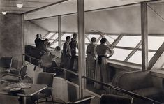 LZ 129 Hindenburg, doomed airship. I never saw a foto of the interior before. passengers all in fancy dress.