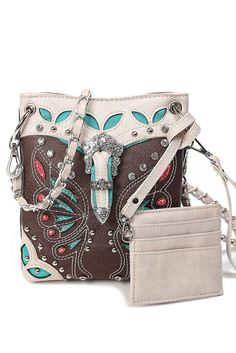 Western Cowgirl Butterfly Patch Embroidery Deco Belt Messenger Bag #GetEverythingElse #TotesShoppers