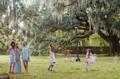 Seersucker dresses, Southern designed and manufactured in the South. Spanish moss, Audubon Park, New Orleans, Southern photo shoot. Garden party, Oak trees, Tree of life. By Jolie and Elizabeth. jolieandelizabeth.com