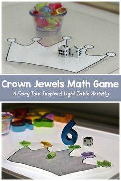 Crown Jewels Math Game: A fairy tale inspired math game for preschoolers on the light table - teaches beginning math and counting practice. Preschool Math Games, Math Games For Kids, Math Activities, Preschool Activities, Math Games For Preschoolers, Maths, Princess Activities, Fairy Tale Activities, Fairy Tale Crafts