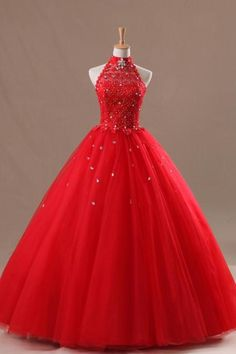 Red Long Quinceanera Dresses Halter Ball Gown Backless Tulle Top Lace Sequined Princess Prom Dresses