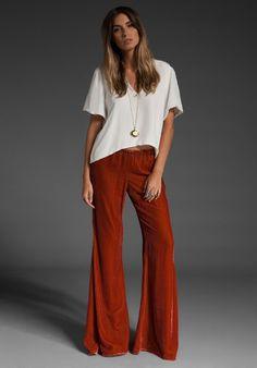 tee + flares + long necklace