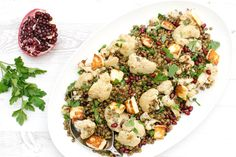 Roasted Cauliflower & Lentil Salad with Pomegranate Dressing