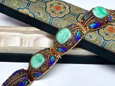 Sold - Antique Chinese Export Silver Filigree Jade Enamel Bracelet in Original Silk Box | eBay