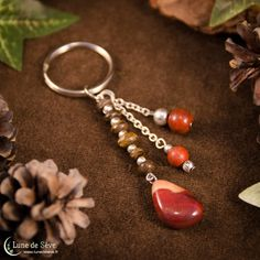 """Porte-clé en pierres, bronzite et jaspe rouge - """"Amulette des Dragons"""""""