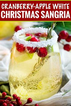 Sweet and festive, this white sangria recipe is full of Christmas cheer! Easy to make for holiday entertaining, and can be made non-alcoholic as well! Drinks White Christmas Sangria - The Chunky Chef Winter Sangria, Cranberry Sangria, Holiday Sangria, Winter Drinks, Christmas Cocktails, Holiday Drinks, Holiday Recipes, Christmas Holiday, White Sangria Christmas Recipe