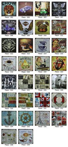 Placas Decorativa Vintage em Metal 30X30