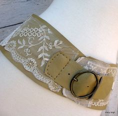 Leather and Vintage Lace Wide Belt by Stacy by stacyleighatelier, $95.00