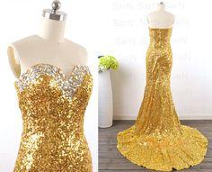Sparkly Mermaid Evening Dresses,Strapless Evening Dresses,Long Formal Dresses,Golden Sequin Prom Dresses