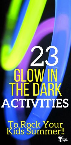 Glow in the dark activities your kids of all ages will LOVE! Perfect summer activity or for your of July party! Glow in the dark activities your kids of all ages will LOVE! Perfect summer activity or for your of July party! Glow Stick Games, Glow Stick Party, Glow Sticks, Summer Crafts For Kids, Summer Kids, Diy For Kids, Dark Summer, Summer Party Games, Kids Party Games
