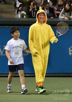 Kei Nishikori in Hiyoko suit.