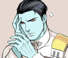 Apparently I have a thing for Thrawn pouting and touching his face. Star Wars Clone Wars, Star Wars Art, Star Wars Characters, Fantasy Characters, Darth Bane, Character Art, Character Design, Grand Admiral Thrawn, Edge Of The Empire
