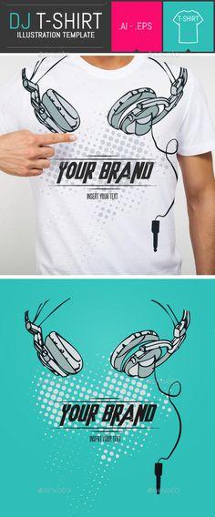 Dj Headphones T-Shirt Vector Illustration Template Vector EPS, AI. Download here: http://graphicriver.net/item/dj-headphones-tshirt-vector-illustration-template/9333144?ref=ksioks