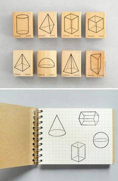 geometric shape stamps, wood-mounted rubber stamps