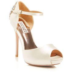 Badgley Mischka Peep Toe Platform Evening Pumps - Gene High Heel (325 CAD) ❤ liked on Polyvore featuring shoes, pumps, heels, ivory, peep-toe pumps, ivory peep toe pumps, ivory satin shoes, high heel shoes and platform shoes