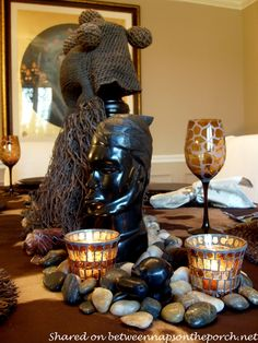 This wonderful and unique tablescape was created with the theme of an African Safari, using beautiful treasures collected while working in Africa. Diy Thanksgiving Centerpieces, Thanksgiving Tablescapes, Hosting Thanksgiving, Thanksgiving Place Cards, Thanksgiving Table Settings, Modern Centerpieces, Centerpiece Ideas, Table Decorations, African Theme