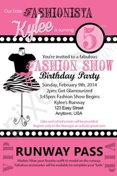 FASHION SHOW Custom Birthday Invitation - Digital File, You Print - 4x6 - Wording Customizable
