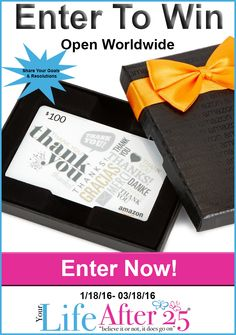 Enter to win @YourLifeAfter25's 2016 Goals & Resolutions $100 Amazon #Giveaway!