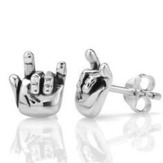 """925 Oxidized Sterling Silver Tiny """"I Love You"""" Hand Sign Symbol Post Stud Earrings 10 mm"""