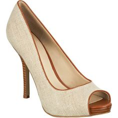 I have these Nine West peep toes in the same taupe linen with walnut details. Dressy and casual at the same time.
