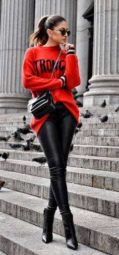 #fall #outfits women's red and black scoop-neck sweater and black skinny jeans with pair of black leather pointed-toe heels
