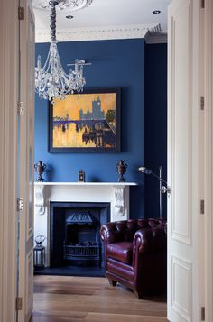 Victorian Home Office & Library. White fire surround with ornate corbels… Brown And Blue Living Room, My Living Room, Living Room Decor, Blue Rooms, Blue Walls, Blue Bedroom, Traditional Home Offices, Traditional Kitchens, Azul Indigo