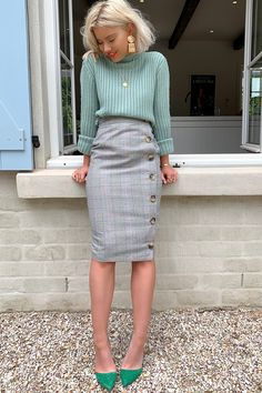 518588442f Laura jade grey heritage check high waisted midi skirt with button side  split