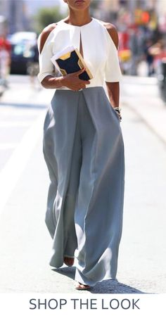 Womens High Waist Pleats Wide Leg Long Dress Trousers Fashion Casual Pants Grey Button trousers outfit ideas for women. Mode Outfits, Casual Outfits, Fashion Outfits, Womens Fashion, Fashion Trends, Casual Pants, Fashion 2018, Latest Fashion, Fashion Blogs
