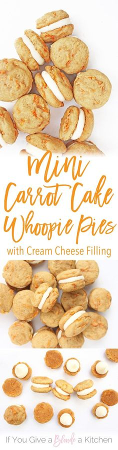 Mini Carrot Cake Whoopie Pies Recipe via If You Give a Blonde a Kitchen - bite-sized wonders. Sandwiched together with cream cheese frosting, this mini dessert is perfect for Easter. The BEST Bite Size Dessert Recipes - Mini, Individual, Yummy Treats, Perfectly Pretty for Your Baby and Bridal Showers, Birthday Party Dessert Tables and Holiday Celebrations!