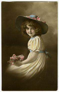 C 1912 Vintage Child Little Precious Little Girl Tinted Photo Postcard