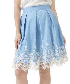 Look at this #zulilyfind! Potter's Pot Blue & Cream Lace-Hem A-Line Skirt by Potter's Pot #zulilyfinds