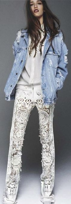 From Glamour France. Too wild as shown pour moi, but a lace inset with raw edges in denim, c'est possible