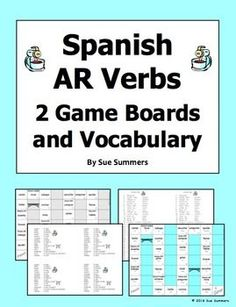 Spanish AR Verbs 2 Board Games and Vocabulary - Students practice AR verb meanings and conjugations in a fun, interactive way with these games! These are 32 square board games containing 15 different common Spanish AR verbs. One board contains Spanish infinitives that students must translate to English, and the other contains Spanish infinitives that students must conjugate based on the subject pronouns provided.