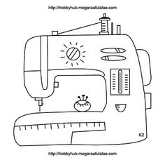 Doodle of sewing machine - for embroidery Machine Embroidery Patterns, Applique Patterns, Embroidery Applique, Cross Stitch Embroidery, Embroidery Designs, Sewing Machine Drawing, Doodle, Applique Templates, Tampons