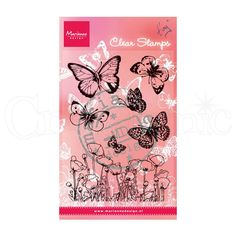 The clear stamps from Marianne Design are so easy to use. Simply peel the image from the backing sheet, place the image onto an acrylic block and apply your favourite ink. Stamp, clean and place back on the sheet. This stamp set of Butterflies and Poppies allows you to create a beautiful scene - pretty poppies with butterflies floating around them!