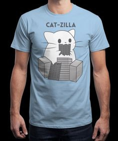"""""""Cat-Zilla"""" is today's £8/€10/$12 tee for 24 hours only on www.Qwertee.com Pin this for a chance to win a FREE TEE this weekend. Follow us on pinterest.com/qwertee for a second! Thanks:)"""