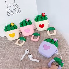 UR Sunshine AirPods Case, Super Lovely Creative Plant Flower Cactus Shape Soft Silicone Case Cover Protective Skin for AirPods+Ring Lanyard-Purple Heart Cactus Cute Ipod Cases, Iphone Cases, Iphone 5c, Apple Watch, Aroma Essential Oil, Mould Design, Earphone Case, Air Pods, Airpod Case