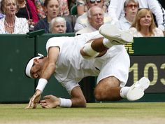 Juan Martin Del Potro takes a heavy tumble and almost had to retire from his quarter final against David Ferrer. He went on to win in straight sets. Wimbledon 2013, Tennis News, Lawn Tennis, Tennis Championships, Andy Murray, British Men, Take That, David, Memories