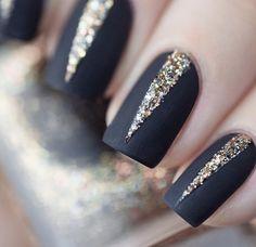 Maybe white with black glitter polish stripe