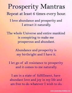 Abundance Quotes and Motivational Spiritual Quotations from Awakening Intuition. A Collection of Wisdom Life Changing sayings Prosperity Affirmations, Positive Affirmations Quotes, Self Love Affirmations, Morning Affirmations, Law Of Attraction Affirmations, Money Affirmations, Affirmation Quotes, Positive Quotes, Positive Life