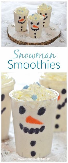Easy snowman smoothies - a fun and healthy Christmas drink that kids will love - Eats Amazing UK christmas food crafts Christmas Snacks, Christmas Breakfast, Christmas Baking, Christmas Fun, Healthy Christmas Treats, Christmas Activities, Christmas Morning, Holiday Drinks, Holiday Recipes